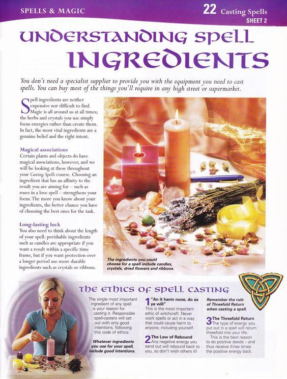 Magick Spells:  #BOS Understanding #Spell #Ingredients page.: