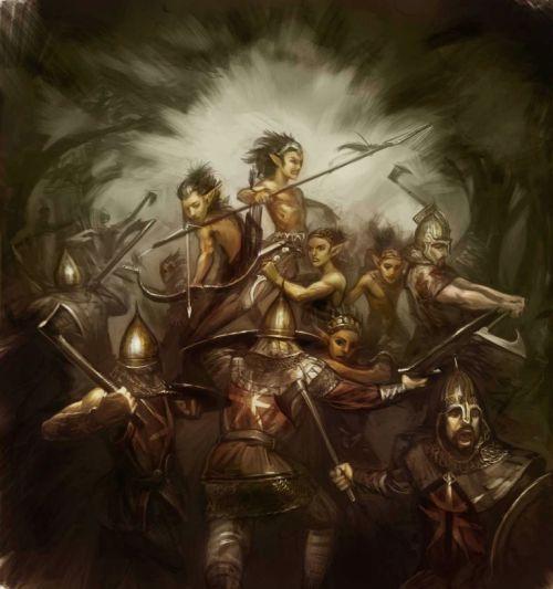 Los Primeros Hombres contra los hijos del bosque, por Arthur Bozonnet