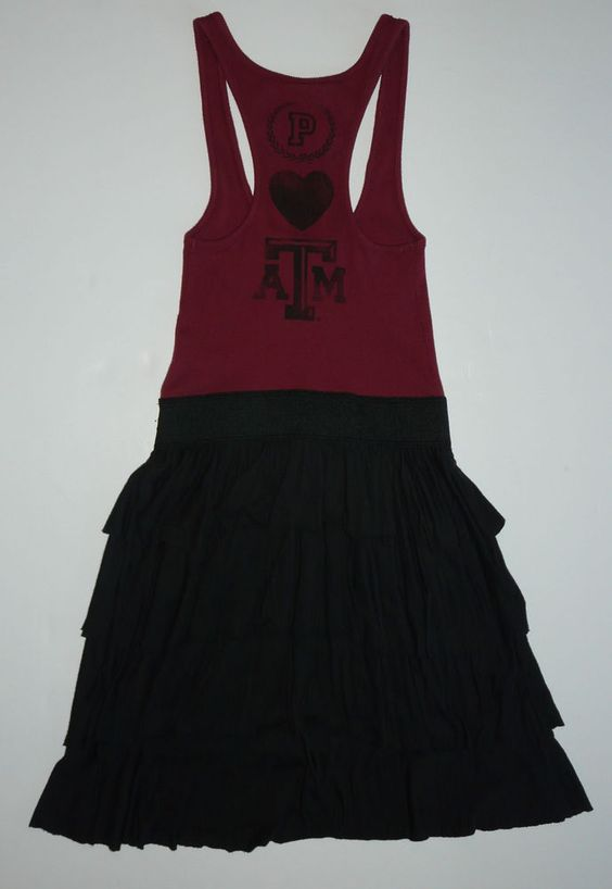 Pink by Victoria's Secret Collegiate Collection Texas A & M Dress XS  Racer Tank #VictoriasSecret #Spiritdress #Casual
