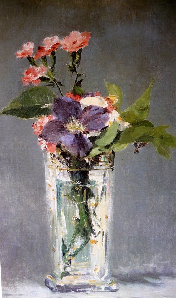 Édouard Manet: Carnations and Clematis in a Crystal Vase (Oeillets ...