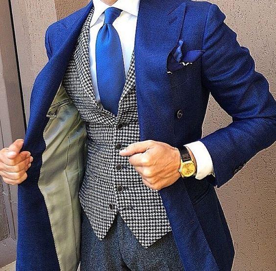 Contrast vest with cobalt blue jacket