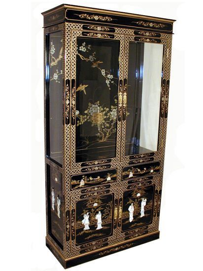 Hand Painted Chinese Lacquer Curio Cabinet Oriental Furniture Black Display Cabinet Asian Decor Bathroom