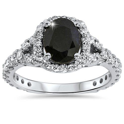 #blackdiamondgem 2.25CT Black Sapphire & Diamond Cushion Halo Engagement Ring 14K White Goldby Pompeii3 Inc. - See more at: http://blackdiamondgemstone.com/jewelry/wedding-anniversary/engagement-rings/225ct-black-sapphire-diamond-cushion-halo-engagement-ring-14k-white-gold-com/#sthash.qofVE3U3.dpuf