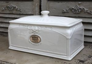 Keramik Brotkasten weiß Brotbox Brottopf antik shaby Vintage Landhaus neu Bread