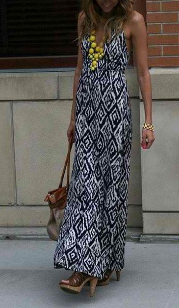 Tribal print maxi dress, and yellow statement necklace finishes of the look! Fab!