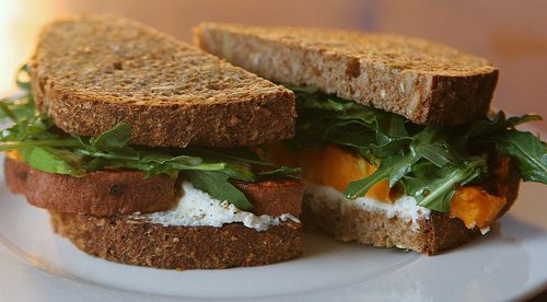 Sweet potato sandwiches, with goat cheese, arugula, avocado, and maple-balsamic dressing