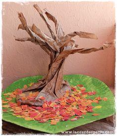 Bricolage automne arbre feuilles mortes