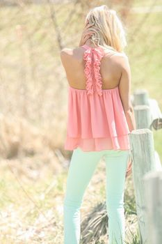 Bring the Party Ruffle Back Top Rose - Modern Vintage Boutique