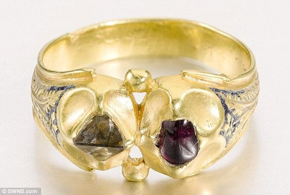 This jewel-encrusted ring discovered by an amateur treasure hunter at a monastery once owned by Henry VIII's advisor Thomas Cromwell is expected to sell for £30,000 when it is auctioned this afternoon