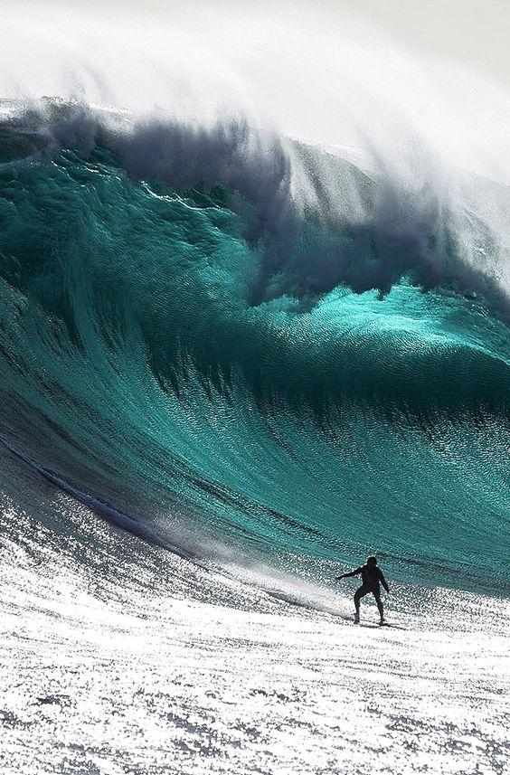 巨大な波とサーファー