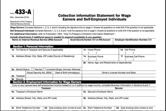 IRS Form 433-A Collection Information Statement for Wage Earners - transmittal form