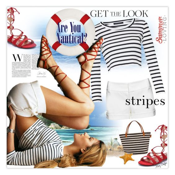 Summer Stripes by mcheffer on Polyvore featuring French Connection, Alice + Olivia and Schutz