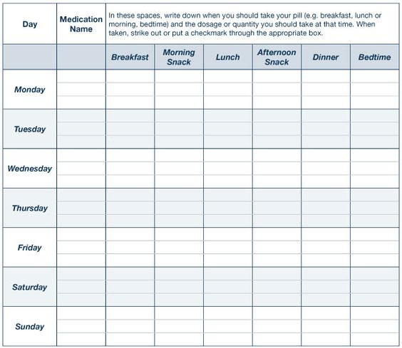 Printable daily animal pill chart template talk to your health