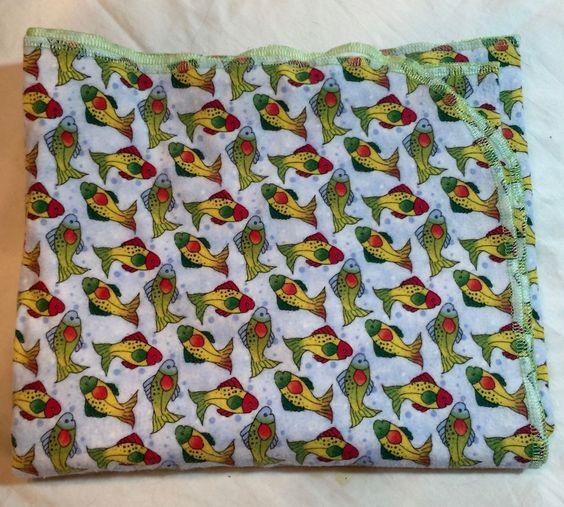 Flannel Baby Toddler Blanket  Handmade Fish Design  #ArtandOtherThings