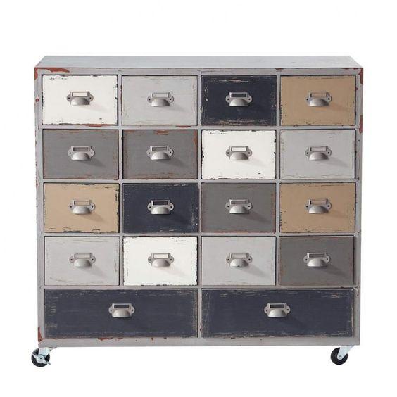 Cabinet de rangement à roulettes en bois gris L 85 cm Odéon   Maisons du Monde