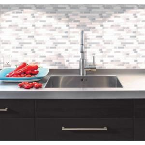 Smart Tiles Bellagio Blanco 10.06 in. W x 10 in. H Peel and Stick Decorative Mosaic Wall Tile Backsplash in White and Grey SM1085-1 at The Home Depot - Mobile