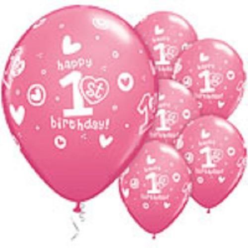 Qualatex Palloncini in lattice rosa primo compleanno bambina 27 cm 25 pezzi