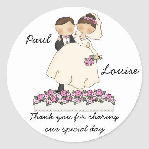 Cute Wedding Couple Stickers Zazzle Com Custom Wedding Stickers Wedding Stickers Wedding Couples