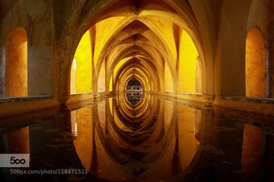 Reales Alcázares de Sevilla - Pinned by Mak Khalaf Inside Alcazar. Seville. Spain. Reales Alcázares de Sevilla. España. Travel AlcazarArabSevillelightspainsunwatermauretanian by artuga