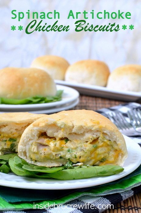 Spinach Artichoke Chicken Biscuits - spinach, artichoke, chicken, and 3 kinds of cheese baked inside a #Pillsbury grands biscuit