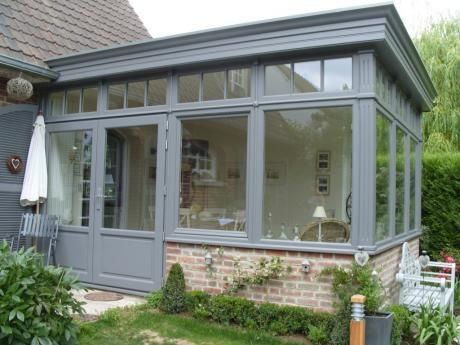 V randa bois grise 12 verri re pinterest jardins appartements et gris - Extension maison veranda ...