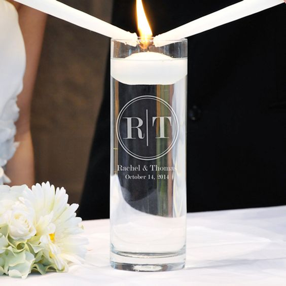 Circle Monogram Floating Unity Candle (Cathys Concepts CI3903FC) | Buy at Wedding Favors Unlimited (http://www.weddingfavorsunlimited.com/circle_monogram_floating_unity_candle.html).