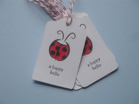 Ladybug A Happy Hello Tags  Set of 10 by myhandcrafteddesigns, $3.75