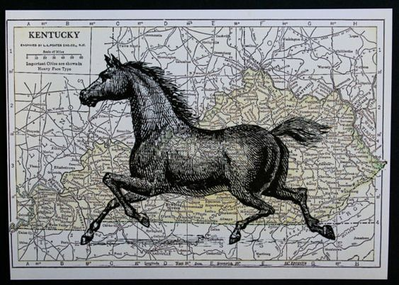 The Kentucky Derby will soon be here; horse print on vintage style map of Kentucky, by CrowBiz.