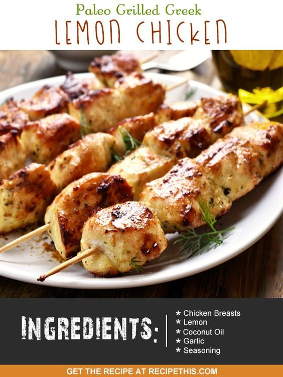 30 Minute Meals | Paleo Grilled Greek Lemon Chicken recipe from RecipeThis.com