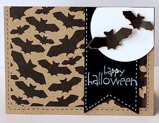 Cute Halloween Card.  Could make bat lace paper with Silhouette and use spray mist.