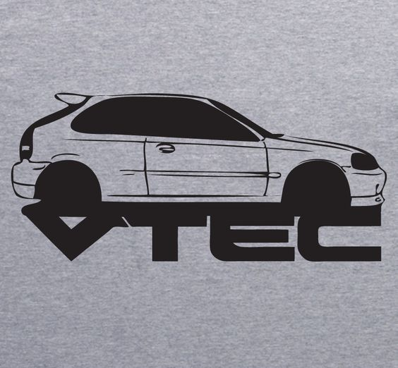 HONDA CIVIC Vtech grey T-Shirt by XBrosApparel ♠... X Bros Apparel Vintage Motor T-shirts, VW Beetles, Buses, Mustangs, Muscle Cars, Imports.... Great price,  Find us on Etsy, Ebay...♠. CLICK ON IMAGE