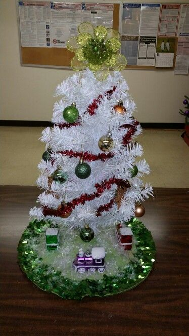 Decorated tinsel tree