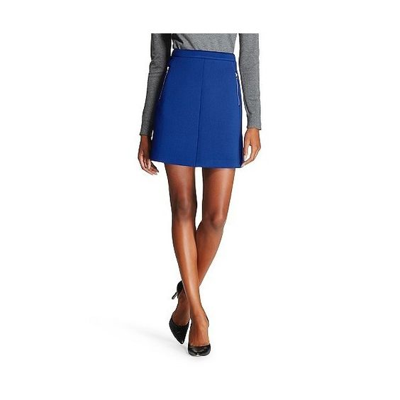 Women's Double Zip Mini Skirt Blue  - Wd·ny Black ($19) ❤ liked on Polyvore featuring skirts, mini skirts, blue, white a line skirt, retro skirt, blue skirt, mini skirt and short skirts