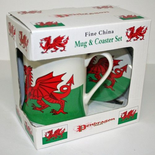 Welsh Dragon Mug & Coaster Set - complete gift for your Welsh friends and family.