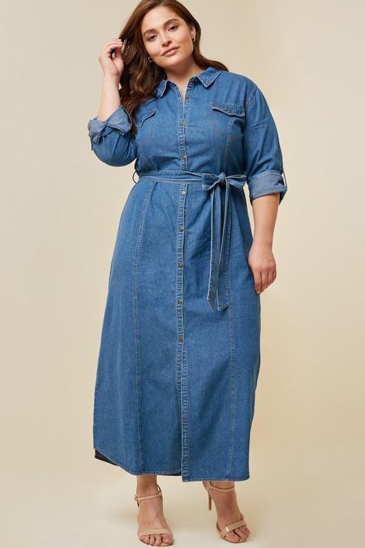 Plus Size Belted Button-Down Denim Maxi Dress | Denim maxi ...