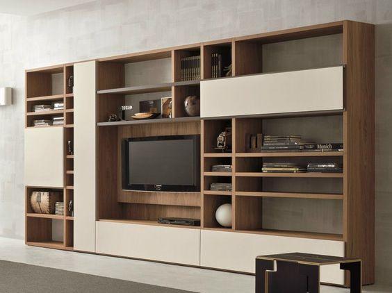 Mueble modular de pared en nogal con soporte para tv SPEED H Colección Speed by Dall'Agnese | diseño Imago Design, Massimo Rosa