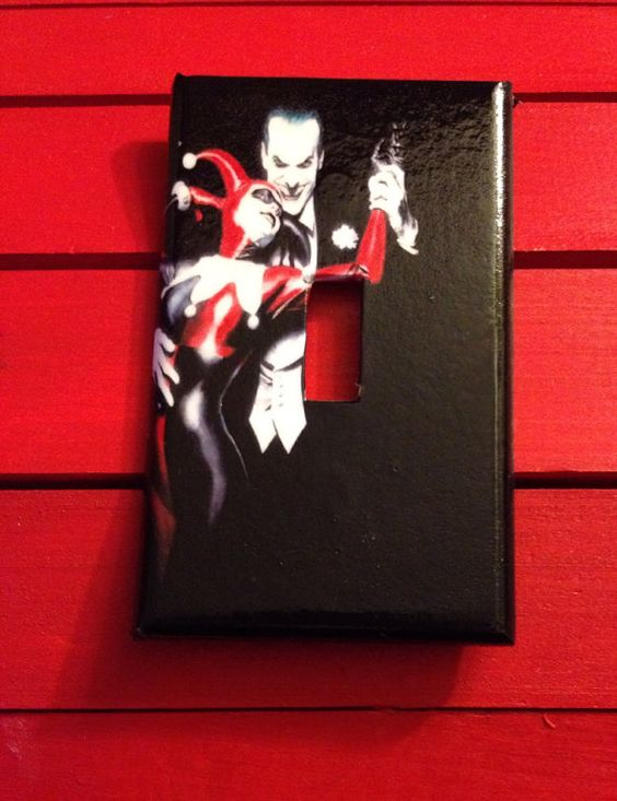 Light switch cover harley quinn and joker light switch for Harley quinn bedroom designs