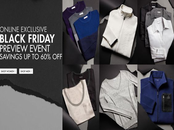 Black Friday Event Up to 60% off Men's & Women's Clothing, From $14 | #CalvinKlein. See more similar deals on DealsAlbum.com.