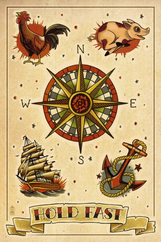 Anchor compass rooster pig ship tattoos pinterest for Pig and rooster tattoo meaning