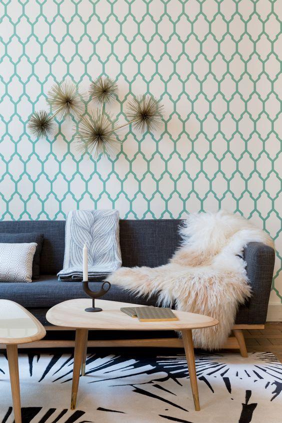 salon scandinave papier peint graphique