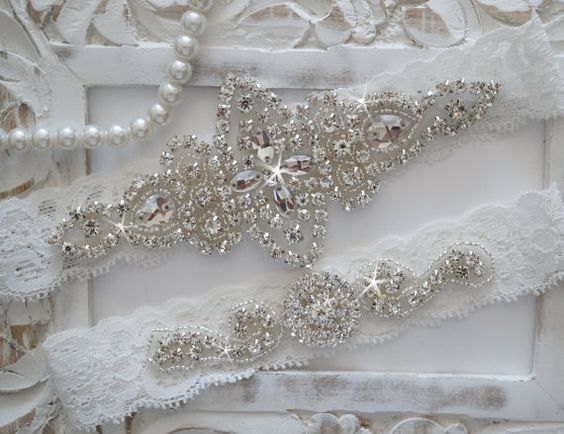 Wedding Garter Set, Bridal Garter Set, Vintage Wedding, Lace Garter, Crystal Garter Set - Style 100A on Etsy, $25.50