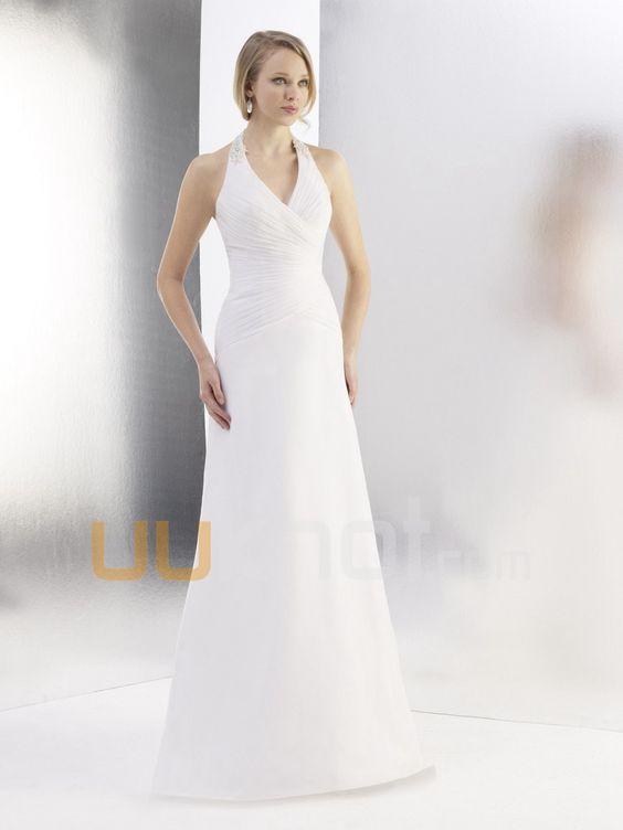 A-line Halter Chiffon Wedding Dress For Bride - UUknot.com
