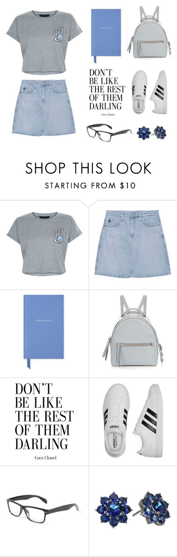 """Don't Be Like The Rest Of Them"" by euphoriana ❤ liked on Polyvore featuring New Look, AG Adriano Goldschmied, Smythson, Fendi, adidas and Nina"