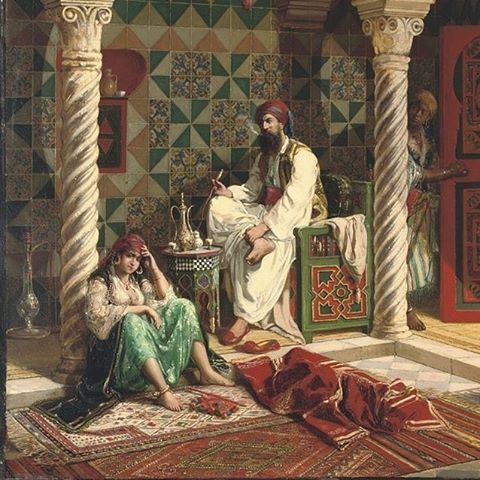 لوحة تاريخية لبيت جزائري تقليدي اصيل الجزائرية اول من لبست القفطان لوحة فنية لامرأة جزائرية وزوجها بلباس تقل Painting Art Watercolor Drawing