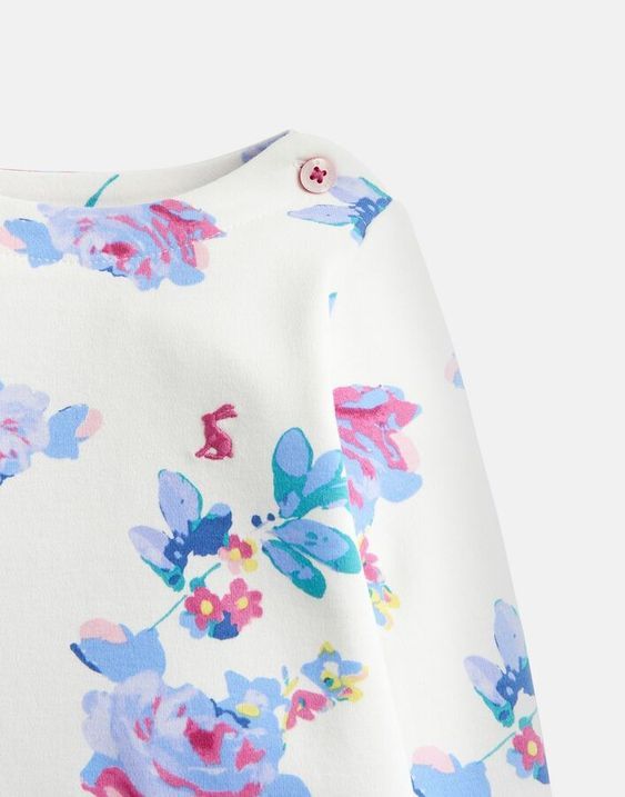 Joules 204658 Printed Jersey Top Shirt in CREAM MARGATE POSY