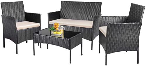 Enjoy Exclusive For Kaimeng Patio Furniture Sets Outdoor 4 Pieces Indoor Use Conversation Sets Rattan Wicker Chair Table Backyard Lawn Porch Garden Poolside Ba In 2020 Patio Furniture Sets Balcony Furniture Backyard Furniture