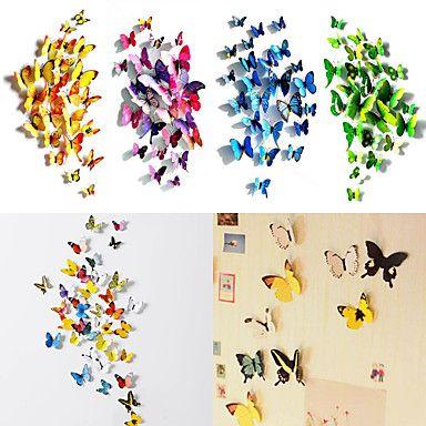 50 stuks 3d vlinder magneet stickers kunst aan de muur stickers met bel-stick (12 stuks gewone + 38 stuks niet-magnetisch) – EUR € 8.54