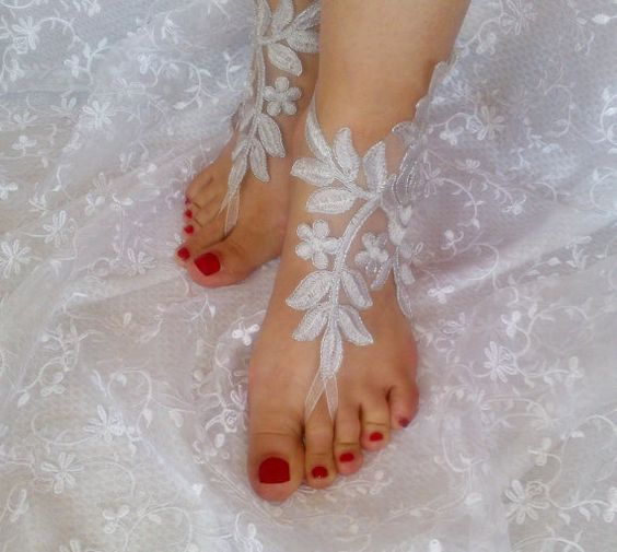 Gray silver frame beach wedding barefoot sandals by SummerFeetS