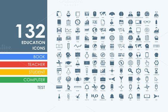 132 education icons by Palau on Creative Market