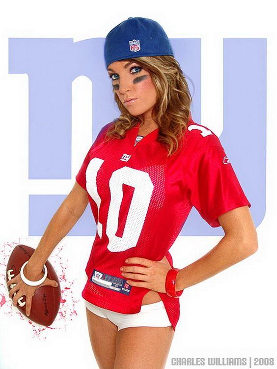 Sexy girls wearing football jerseys